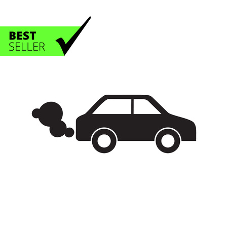 emitting: Vector icon of car emitting exhaust fumes Illustration