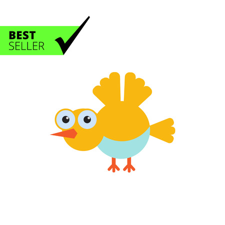 tweeting: Vector icon of flying yellow cartoon bird