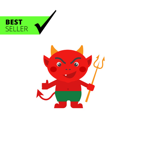 cartoon devil: Vector icon of red cartoon devil with trident