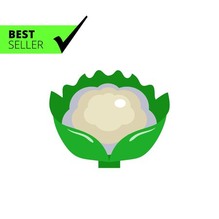 Multicolored vector icon of cauliflower curd with green leaves Banco de Imagens - 54082734