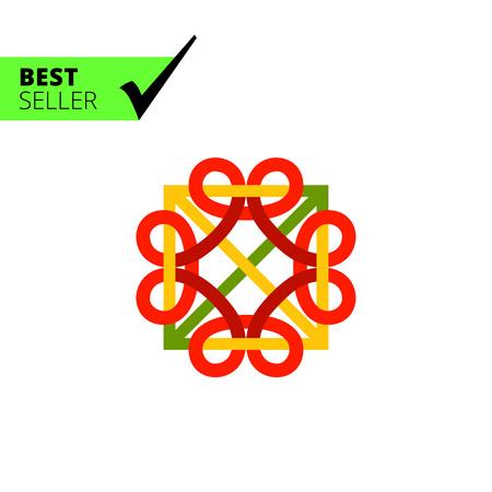 celtic: Multicolored vector icon of square Celtic ornament