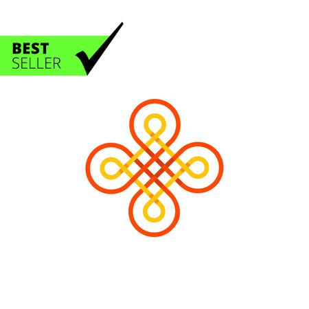 wicker: Multicolored vector icon of wicker Celtic ornament