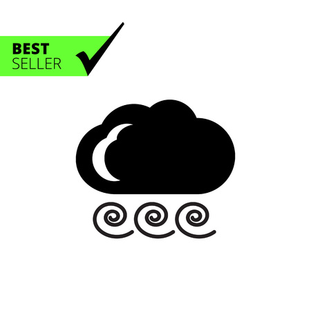 strong: Icon of cloud and strong wind sign