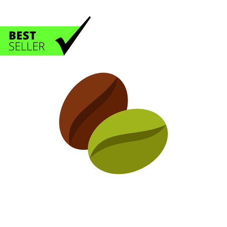 green brown: Multicolored vector icon of green and brown coffee beans Illustration