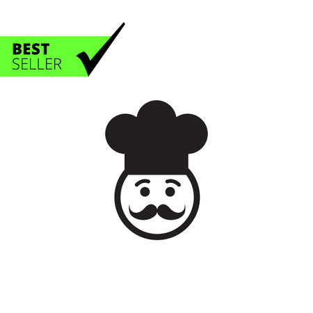 middle aged man: Vector icon of chef face wearing moustache and hat Illustration