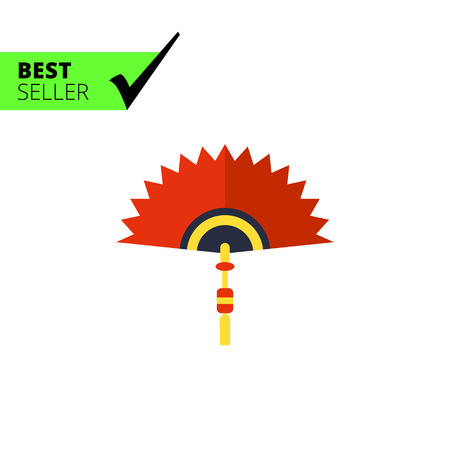 yellow tassel: Multicolored vector icon of Chinese folding fan