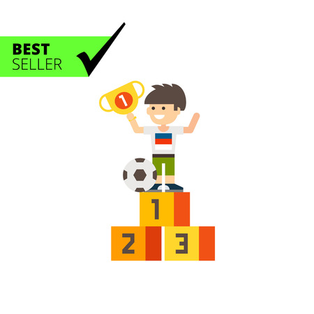 him: Multicolored vector icon of boy holding winner cup and standing winner pedestal, ball near him