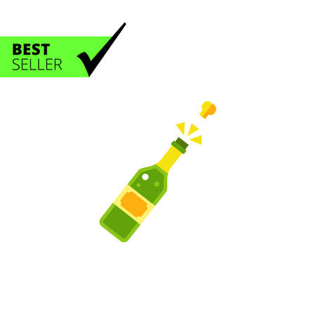 champagne cork: Multicolored vector icon of champagne bottle with open cork Stock Photo
