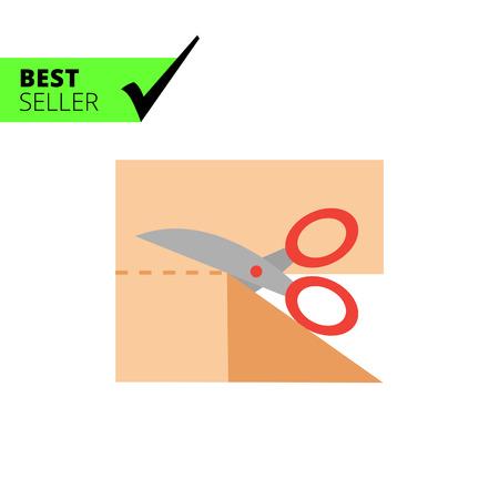 scissors cutting: Icon of scissors cutting cloth piece
