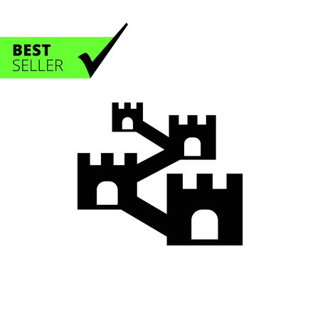 fortress: Vector icon of defensive wall with towers Illustration