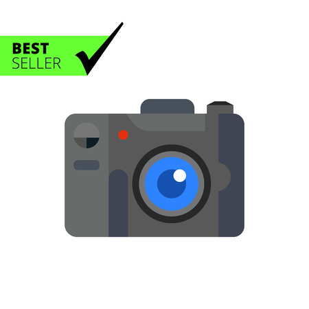 snapshot: Multicolored vector icon of digital snapshot camera