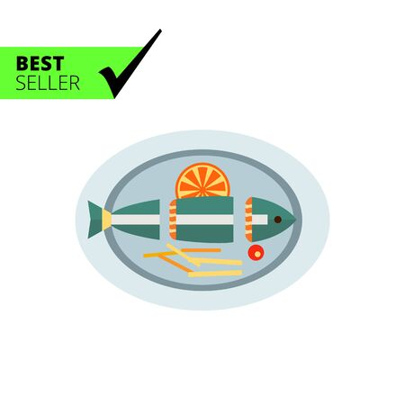 orange cut: Vector icon of cut fish with orange slice and French fries on plate Illustration