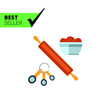 large group of objects: Multicolored vector icon of kitchen cooking set with rolling pin, spoon set and bowl Illustration
