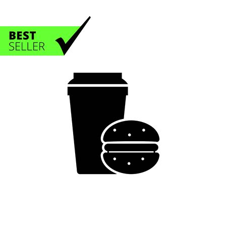 Vector icon of disposable coffee cup and hamburger