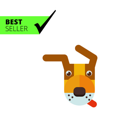 dog ears: Multicolored vector icon of dog head with hanging ears Illustration