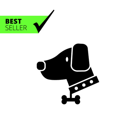 guarding: Vector icon of dog wearing dog collar decorated with bone pendant