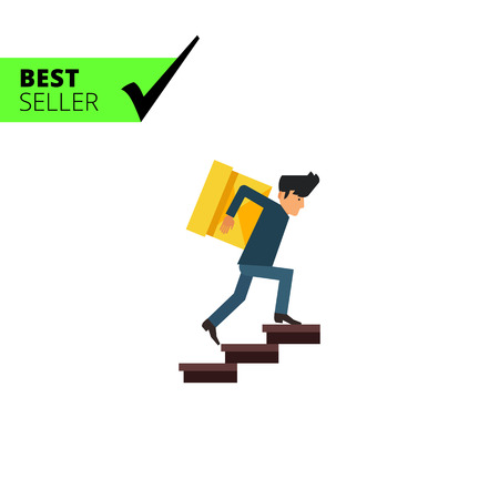 carrying heavy: Multicolored vector icon of delivery man carrying heavy box upstairs