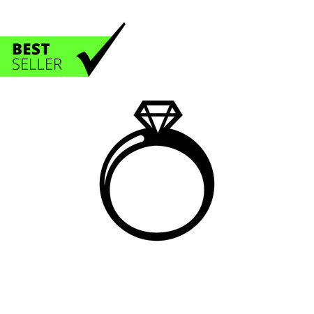 carat: Vector icon of shiny diamond ring silhouette
