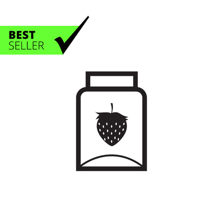 jam jar: Vector icon of empty jam jar with strawberry picture