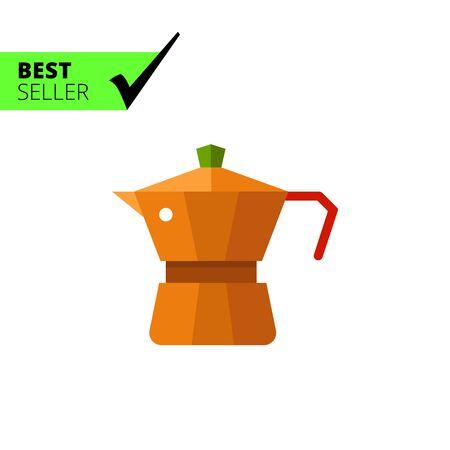 sign maker: Multicolored vector icon of metal jar coffee maker Illustration