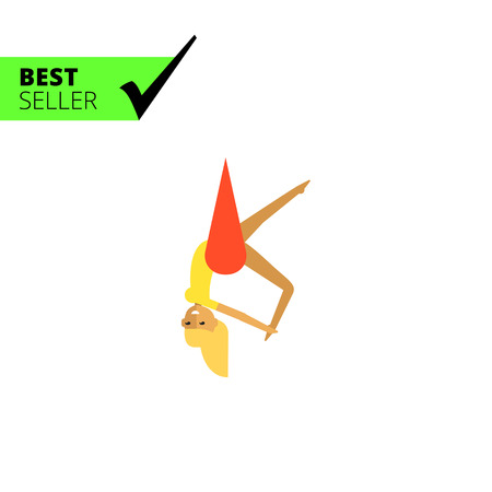 acrobat: Multicolored vector icon of female circus acrobat hanging on hammock Illustration