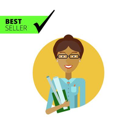 maestro: Personaje femenino, retrato sonriente profesora asi�tica joven con rollos de papel de dibujo