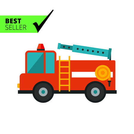 fire engine: Multicolored vector icon of red fire engine