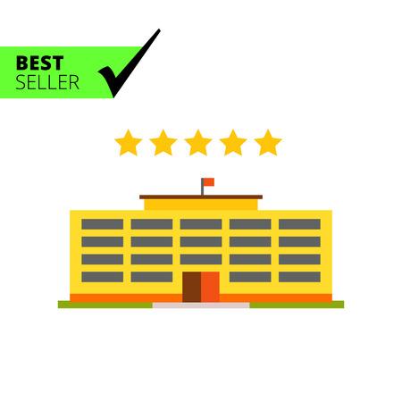 Mehrfarbige Vektorikone des gelben Hotelgebäudes und fünf Sterne