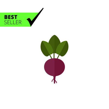 root crop: Vector icon of fresh beetroot with leaves Illustration