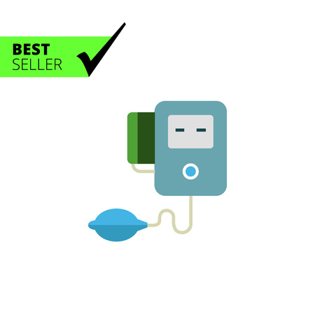 blood pressure monitor: Multicolored vector icon of medical electronic tonometer Illustration