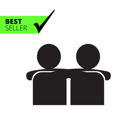 Vector icon of two men silhouettes embracing each other Illustration