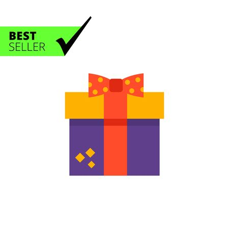 festive occasions: Vector icon of gift box with red ribbon and bow