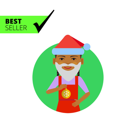 wearing santa hat: Female character, portrait of African American girl wearing Santa hat, fake beard, holding Christmas ball Illustration