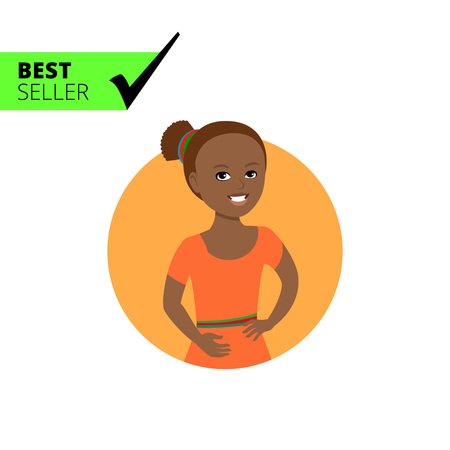 adolescent african american: Female character, portrait of smiling African American girl Illustration