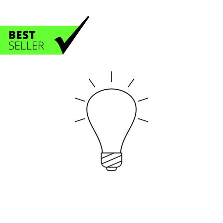 watt: Line icon of glowing bulb