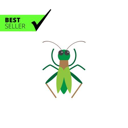 feeler: Multicolored vector icon of green cartoon grasshopper, top view