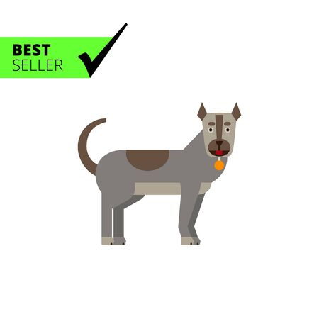 guarding: Multicolored vector icon of grey dog with dog collar