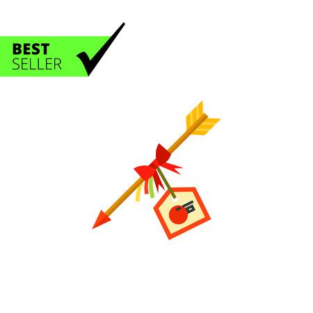 new arrow: Multicolored vector icon of decorative Hamaya arrow with New Year card Illustration