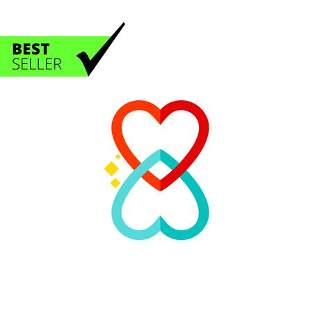 two hearts together: Multicolored vector icon of two hearts twisted together