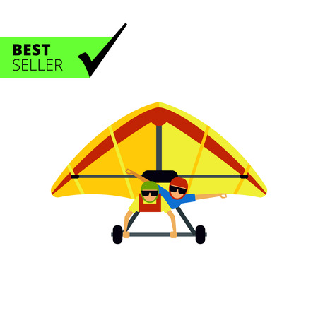 hang glider: Multicolored flat icon of hang glider with two male gliders