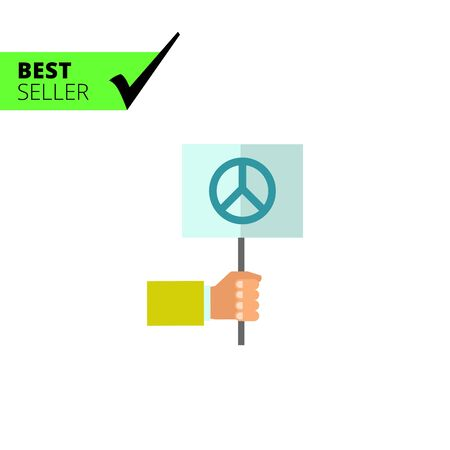 pacifist: Multicolored vector icon of hand holding flag with pacifist sign