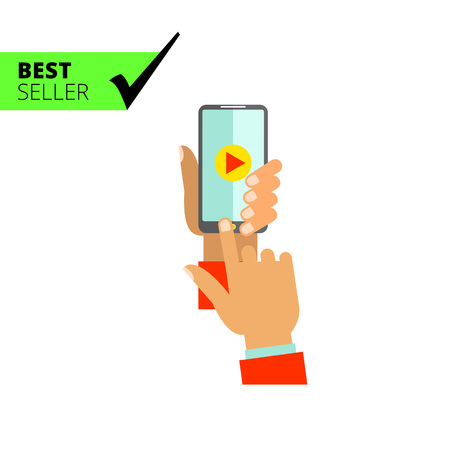 pressing: Multicolored vector icon of man hand holding smartphone with play sign on display and pressing button