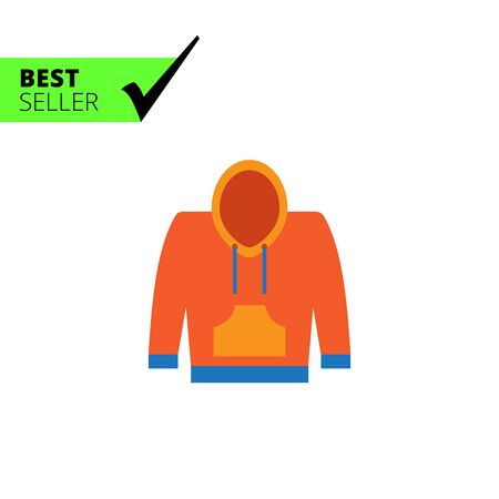 hoody: Vector icon of yellow and blue hoody sweatshirt
