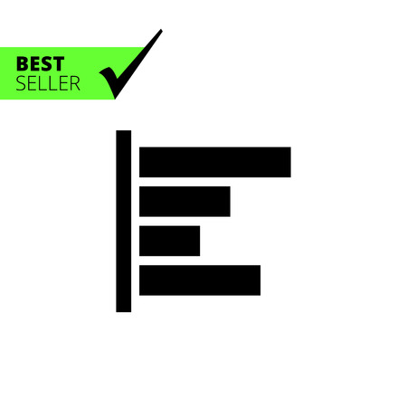 horizontal bar: Monochrome vector icon of horizontal bar chart Illustration