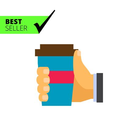morning walk: Vector icon of human hand holding disposable cup