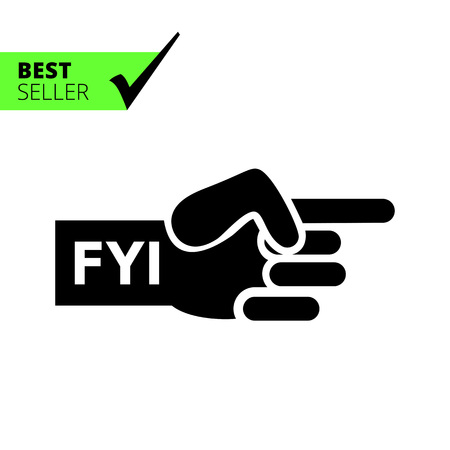 Vector icon of human hand with pointing index finger and FYI inscription
