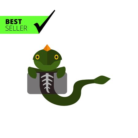 radiography: Multicolored vector icon of lizard making chest X-ray