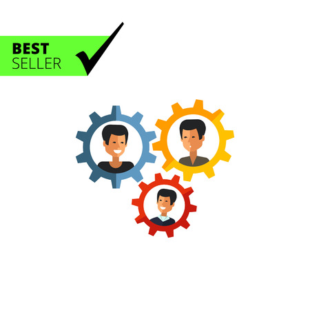 connect people: Multicolored vector icon of group of three male character portraits in gear wheels, isolated on white Illustration