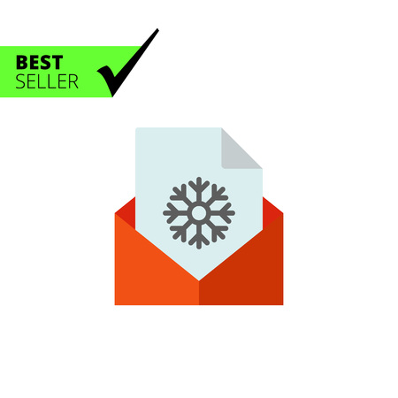 unfriendly: Multicolored vector icon of paper sheet with snowflake in red envelope Illustration