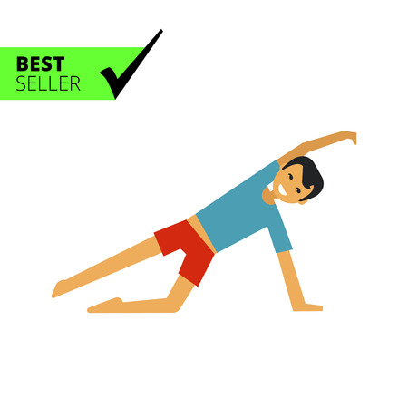 doing: Multicolored vector icon of young man doing exercises